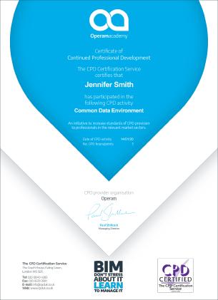 Operam Academy CPD certificate
